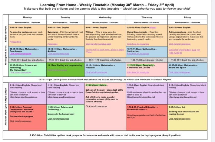 Interactive 'Learning from Home' Timetable for Parents Everywhere during Week 2 of lockdown.