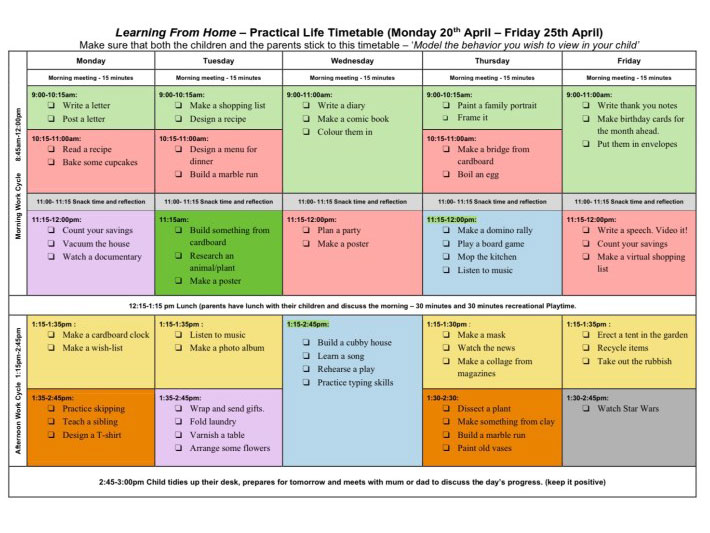Learning from Home 'Practical Life' Timetable (Week 5)